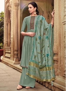 Embroidered Work Chanderi Silk Palazzo Style Pakistani Salwar Suit