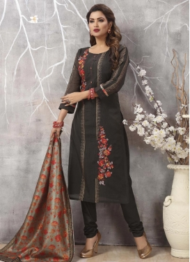 Embroidered Work Chanderi Silk Readymade Designer Salwar Suit