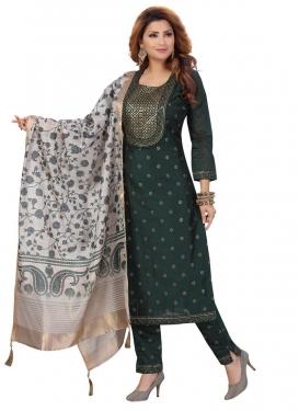 Embroidered Work Chanderi Silk Readymade Designer Salwar Suit
