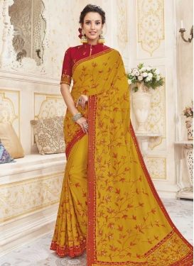 Embroidered Work Chanderi Silk Trendy Classic Saree