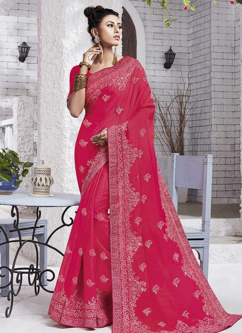 Embroidered Work Chiffon Satin Designer Contemporary Style Saree