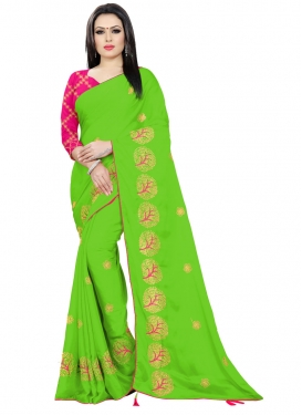 Embroidered Work Chiffon Satin Trendy Classic Saree