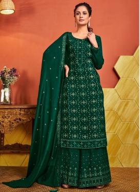Embroidered Work Chinon Palazzo Style Pakistani Salwar Suit