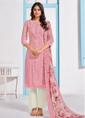 Embroidered Work Chinon Pant Style Straight Salwar Suit