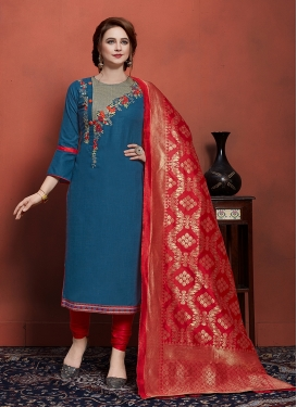 Embroidered Work Churidar Designer Suit