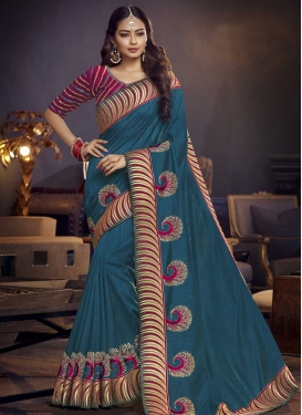 Embroidered Work Classic Saree For Festival