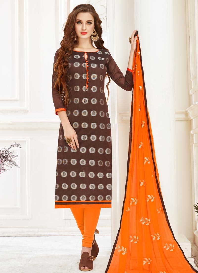 Embroidered Work Coffee Brown and Orange Trendy Churidar Suit