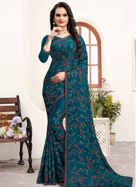 Embroidered Work Contemporary Style Saree For Bridal