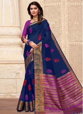 Embroidered Work Contemporary Style Saree For Casual