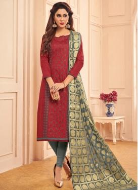 Embroidered Work Cotton Crimson and Grey Trendy Churidar Salwar Kameez
