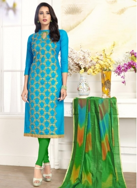 Embroidered Work Cotton Green and Light Blue Trendy Churidar Suit