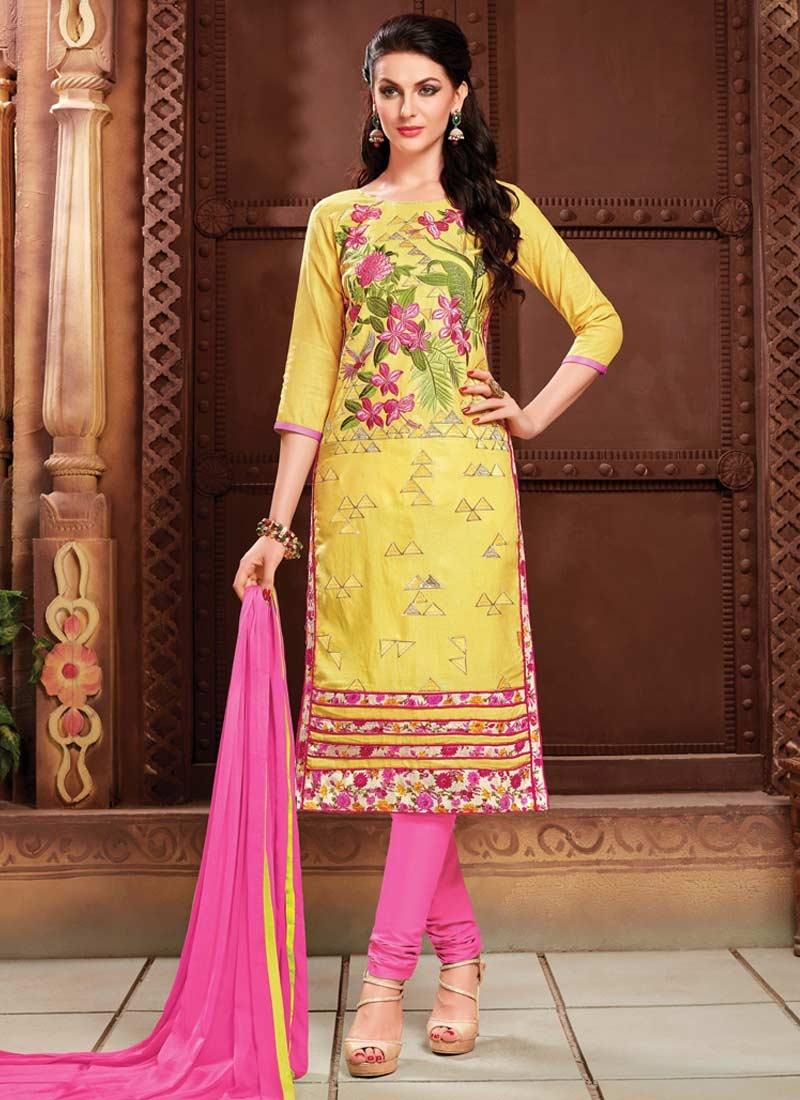 Embroidered Work Cotton Hot Pink and Yellow Trendy Churidar Salwar Kameez