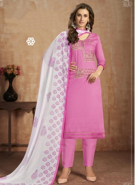 Embroidered Work Cotton Pant Style Salwar Kameez
