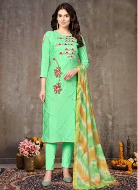 Embroidered Work Cotton Pant Style Salwar Kameez