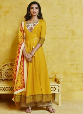 Embroidered Work Cotton Satin Long Length Designer Suit