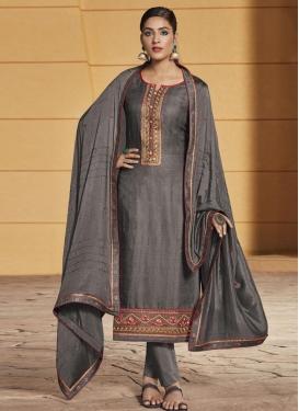 Embroidered Work Cotton Satin Pant Style Pakistani Suit