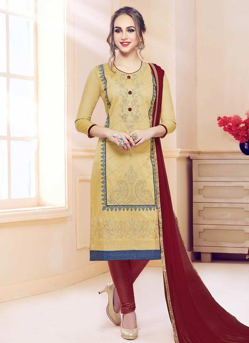 Embroidered Work Cotton Satin Straight Salwar Kameez
