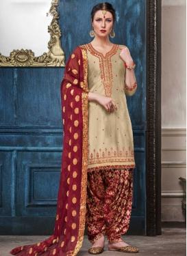 Embroidered Work Cotton Satin Trendy Patiala Salwar Kameez
