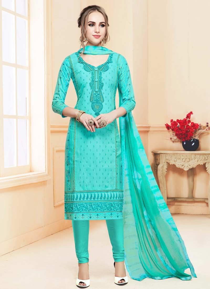 Embroidered Work Cotton Satin Trendy Straight Salwar Suit