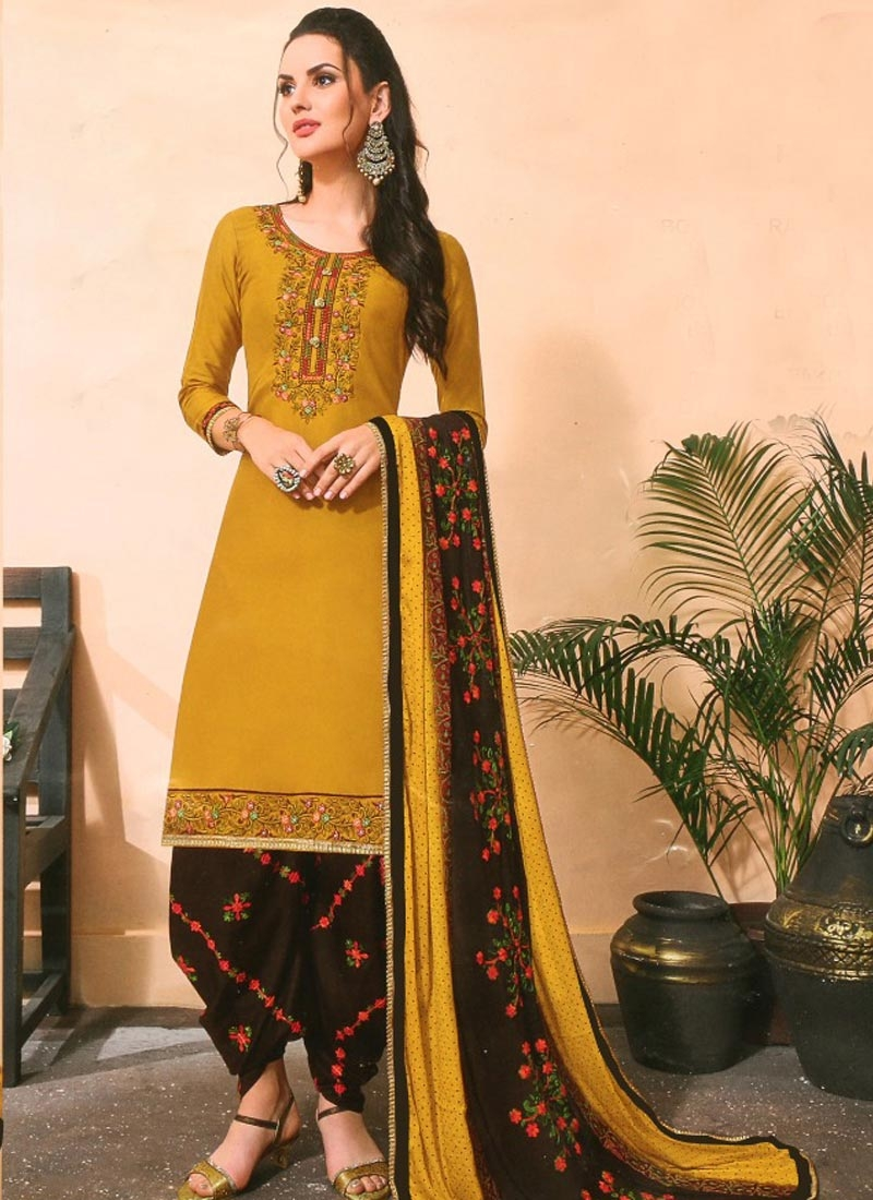Embroidered Work Cotton Silk Black and Mustard Semi Patiala Salwar Kameez