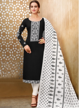 Embroidered Work Cotton Silk Black and White Pant Style Straight Salwar Suit