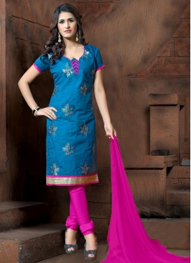 Embroidered Work Cotton Silk Blue and Rose Pink Churidar Salwar Kameez