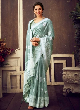Embroidered Work Cotton Silk Contemporary Style Saree For Festival