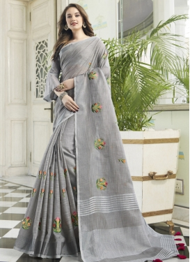 Embroidered Work Cotton Silk Designer Traditional Saree For Festival