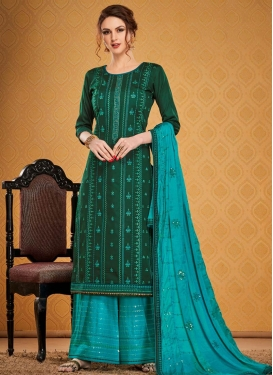 Embroidered Work Cotton Silk Green and Light Blue Palazzo Style Pakistani Salwar Kameez