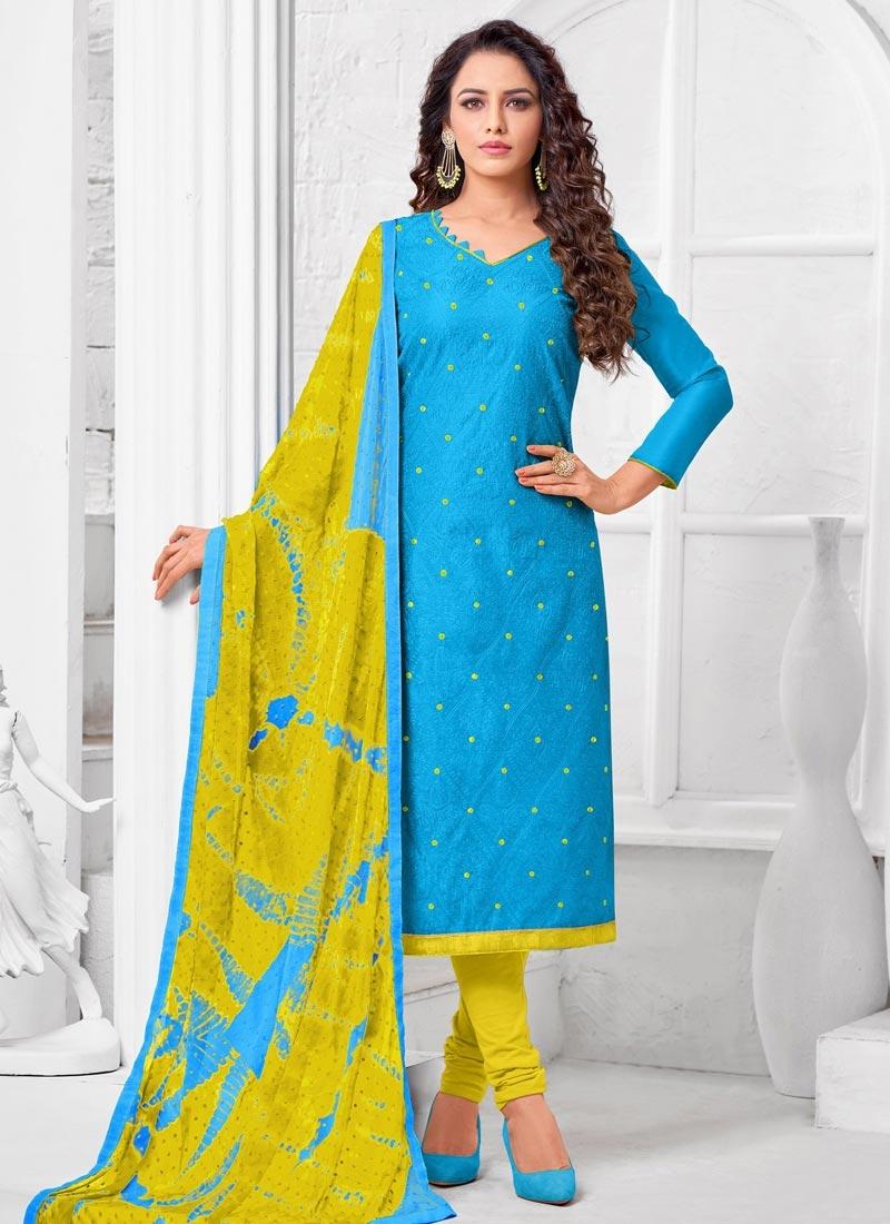 Embroidered Work Cotton Silk Light Blue and Yellow Trendy Churidar Salwar Kameez