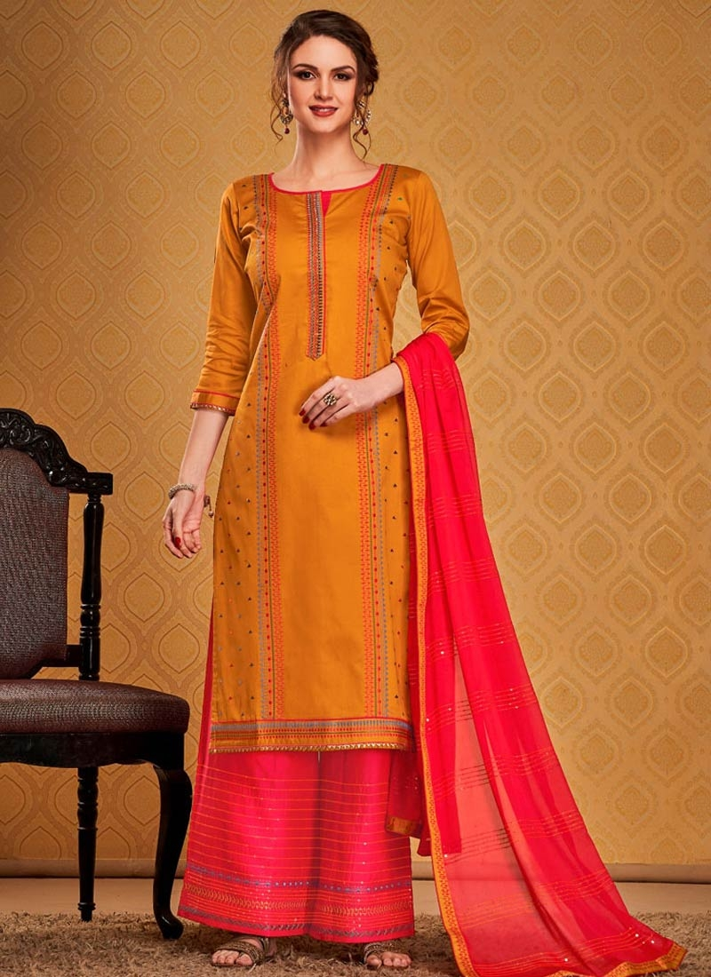 Embroidered Work Cotton Silk Orange and Rose Pink Palazzo Style Pakistani Salwar Suit