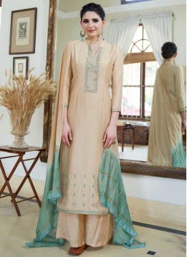 Embroidered Work Cotton Silk Palazzo Style Pakistani Salwar Kameez