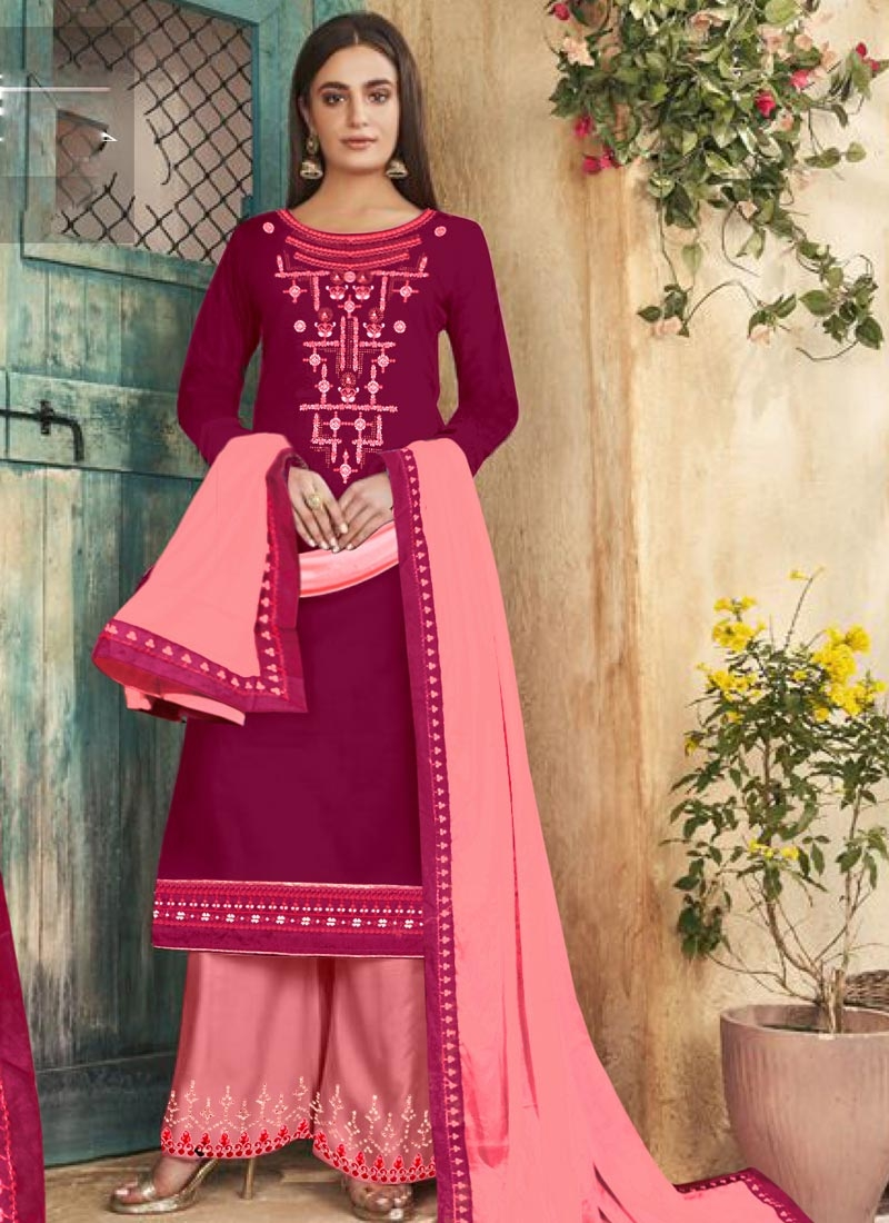 Embroidered Work Cotton Silk Palazzo Style Pakistani Salwar Suit