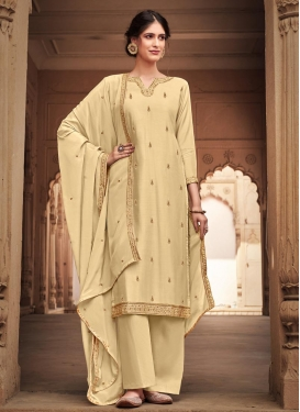 Embroidered Work Cotton Silk Palazzo Style Pakistani Salwar Suit