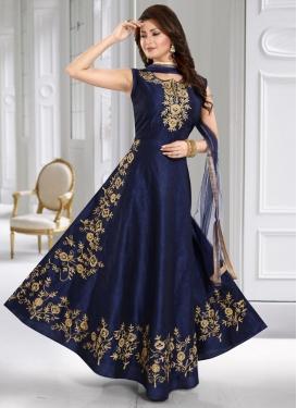 Embroidered Work Cotton Silk Readymade Designer Gown