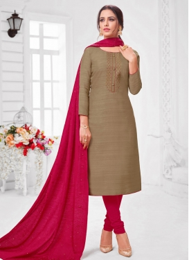 Embroidered Work Cotton Silk Trendy Churidar Salwar Kameez