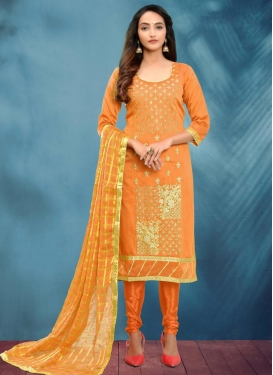 Embroidered Work Cotton Silk Trendy Churidar Salwar Kameez