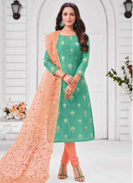 Embroidered Work Cotton Silk Trendy Churidar Salwar Suit