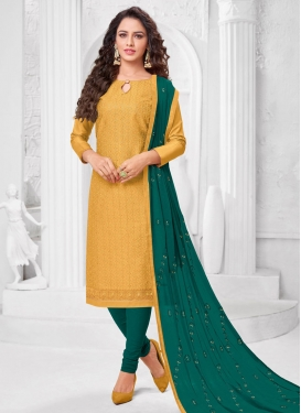 Embroidered Work Cotton Silk Trendy Churidar Suit