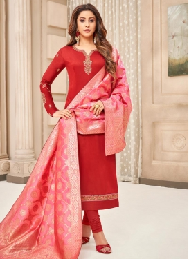 Embroidered Work Cotton Silk Trendy Pakistani Salwar Suit