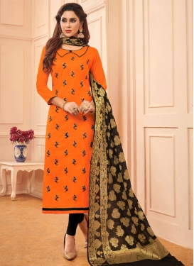 Embroidered Work Cotton Trendy Churidar Suit