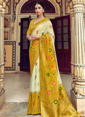 Embroidered Work Cream and Mustard Traditional Designer Saree