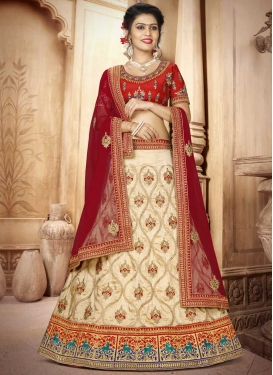 Embroidered Work Cream and Red Trendy A Line Lehenga Choli