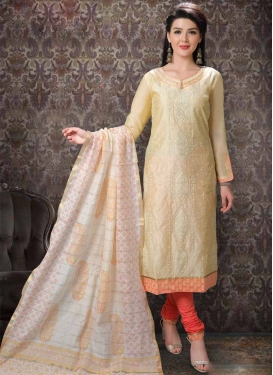 Embroidered Work Cream and Salmon Chanderi Silk Churidar Salwar Suit
