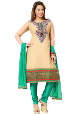Embroidered Work Cream and Sea Green Readymade Churidar Suit