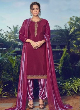 Embroidered Work Crepe Silk Semi Patiala Salwar Kameez