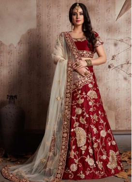 Embroidered Work Crepe Velvet A - Line Lehenga