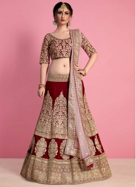 Embroidered Work Crepe Velvet A Line Lehenga Choli