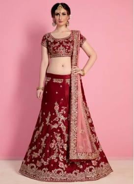 Embroidered Work Crepe Velvet Trendy A Line Lehenga Choli