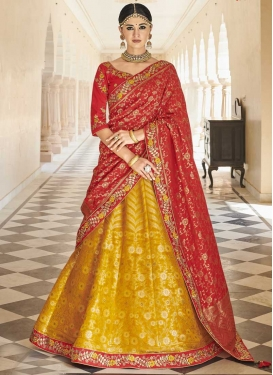 Embroidered Work Crimson and Gold Banarasi Silk A Line Lehenga Choli